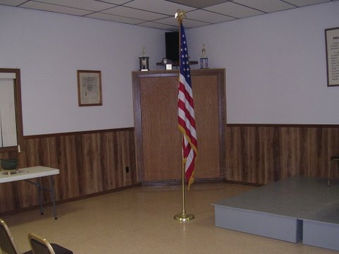 front of room with flag
