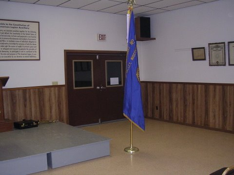 front of room with american legion flag